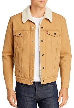Levi's Sherpa Lined Regular Fit Denim Jacket in Desert Boots Canvas