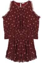 Joie Arleth Cold-Shoulder Pleated Floral-Print Silk-Chiffon Dress