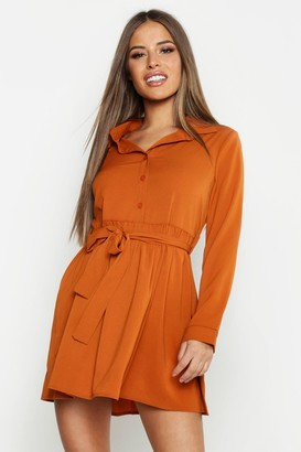 boohoo Petite Smock Shirt Dress