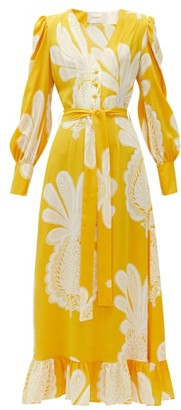 La DoubleJ Super Smokin' Hot Pineapple-print Silk Dress - Yellow Print