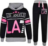 a2z4kids Kids Girls Tracksuit LOS ANGELES LA7 Print Hoodie & Bottom Jog Suit 7-13 Years