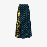 Marine Serre Womens Black Amphibian And Crescent Moon Print Midi Skirt