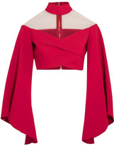 Balmain Cropped Mesh-paneled Crepe Top - Red
