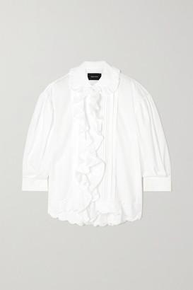 Simone Rocha Ruffled Pleated Cotton-poplin Shirt - White