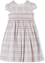 Laura Ashley Gray & Pink Plaid Smocked A-Line Dress - Infant