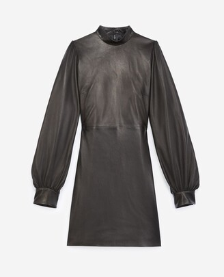 The Kooples Black short leather dress with high neck