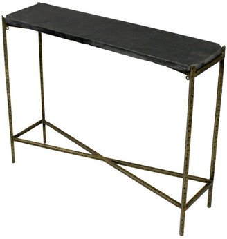 "Moti Venice Kirby Console Table w/ Stone Top & Textured Iron Base, 32""w X 8"