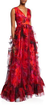 Flor Et. Al Brett Sleeveless Cascading Ruffle Gown