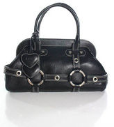 Luella Black Leather Silver Tone Double Handle Doctor Gisele Handbag