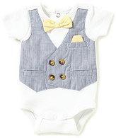 Edgehill Collection Baby Boys Preemie-6 Months Pinstriped Mock Vest Bodysuit