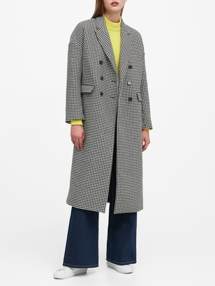 Banana Republic Houndstooth Double-Breasted Car Coat