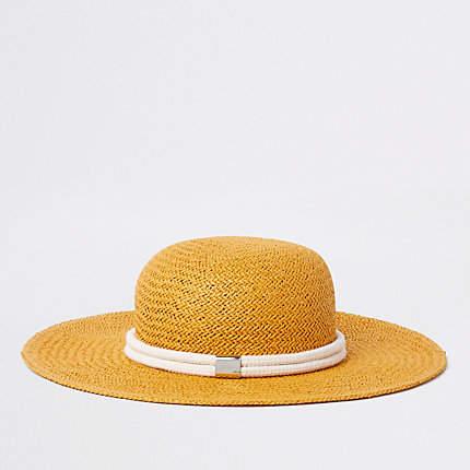 River Island Womens Yellow woven straw rope trim hat