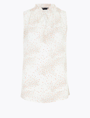 Marks and Spencer Printed Tie Neck Sleeveless Shell Top