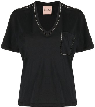 Nude studded detail front pocket T-shirt