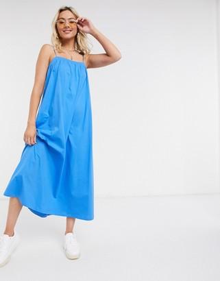 ASOS DESIGN midi strappy smock dress in blue