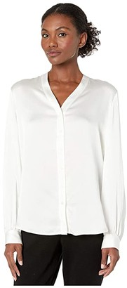 Eileen Fisher Hammered Silk High Back Band Collar Shirt (Ivory) Women's Clothing