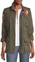 Trina Turk Floral-Embroidered Camouflage Twill Jacket