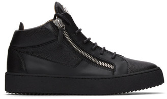 Giuseppe Zanotti Black Grained Kriss High-Top Sneakers