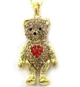 Charm & Chain Adorable Red Heart Gold Tone Teddy Bear Pendant Necklace Light Brown Red Stone Charm Chain Animal Lover Fashion Jewelry Mother's Day Gift for Mom
