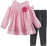 Nannette Toddler Girl Butterfly Cold-Shoulder Top & Lurex Leggings Set