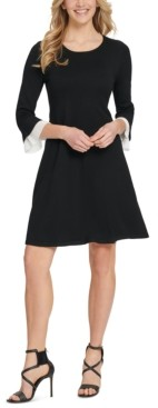DKNY Pleated-Trim Flared-Sleeve Sweater Dress