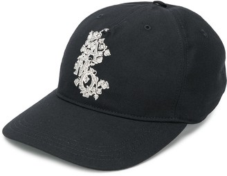 Alexander McQueen leaf logo embroidered baseball cap