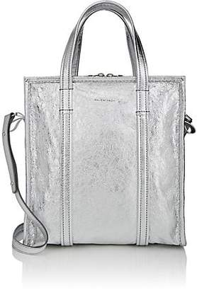 Balenciaga Women's Arena Leather Bazar Small Shopper Tote Bag - Silver