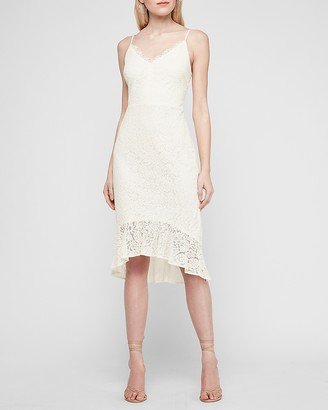 Express Lace Cami Midi Flounce Dress