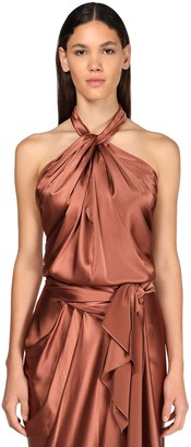 Johanna Ortiz Stretch Silk Blend Halter Neck Top