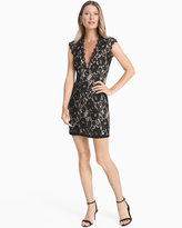 White House Black Market Contrast Lace Cutout Back Sheath Dress