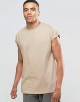Asos Oversized Sleeveless T-Shirt In Beige