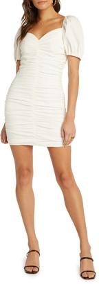 Willow Brea Ruched Convertible Neck Seersucker Minidress