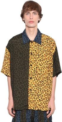 Just Don Leopard Print Rayon Shirt