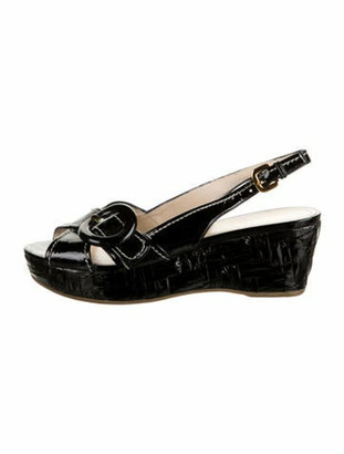 Prada Patent Leather Slingback Sandals Black