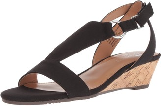 Aerosoles Women's Creme Brulee Wedge Sandal Black Fabric 5.5 M US