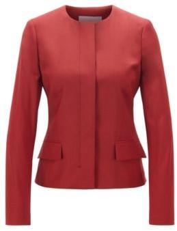HUGO BOSS Collarless Regular Fit Jacket In Virgin Wool - Dark Purple