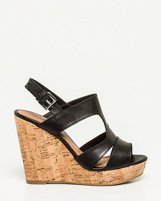 Le Château Leather Slingback Gladiator Wedge
