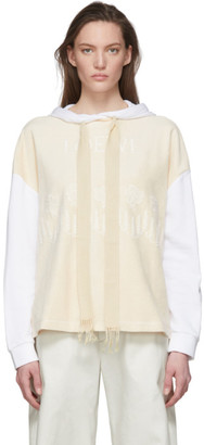 Loewe Beige and White Embroidered Hoodie