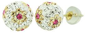 ReLex Girls' Earrings Pink - Crystal & 14k Gold Peach Flower Ball Stud Earrings