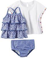 Carter's Baby Girl Tiered Tankini, Print Bikini Bottoms & Gauze Cover-Up Set