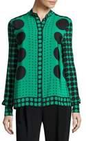 Diane von Furstenberg Round Printed Silk Button-Down Shirt