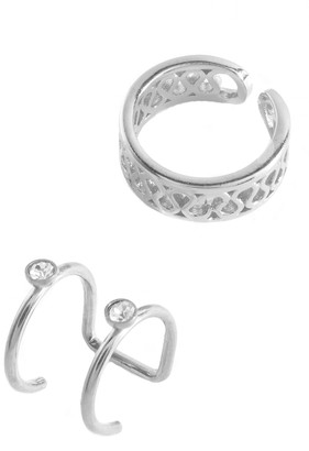Sterling Forever Sterling Silver Filigree & Bezel Set Cubic Zirconia Mismatched Ear Cuff Set - Set of 2