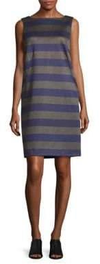 Lafayette 148 New York Space-Striped Bateau-Neck Shift Dress