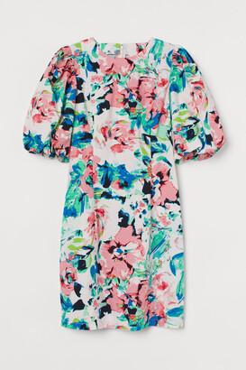 H&M Balloon-sleeved Poplin Dress