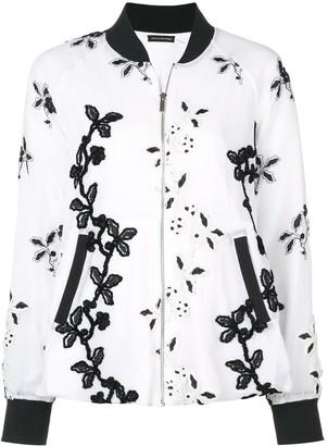 Josie Natori Embroidered Bomber Jacket