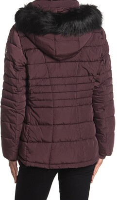 Calvin Klein Faux Fur Trimmed Quilted Puffer Jacket