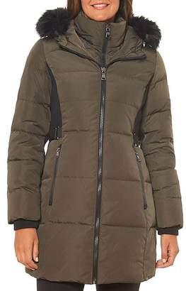 Vince Camuto Faux Fur-Trim Contrast Knit Puffer Coat