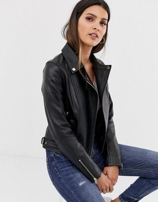 Barneys New York Barneys Originals leather biker jacket with mock croc panels-Black