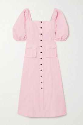 Ganni Cotton-blend Ripstop Midi Dress - Baby pink