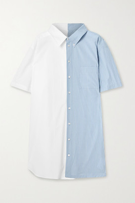 MM6 MAISON MARGIELA Paneled Cotton-poplin Mini Shirt Dress - White